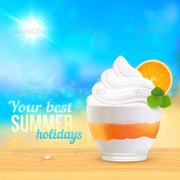 Summer Creamy Dessert on Sunny Beach - Travel Conceptual