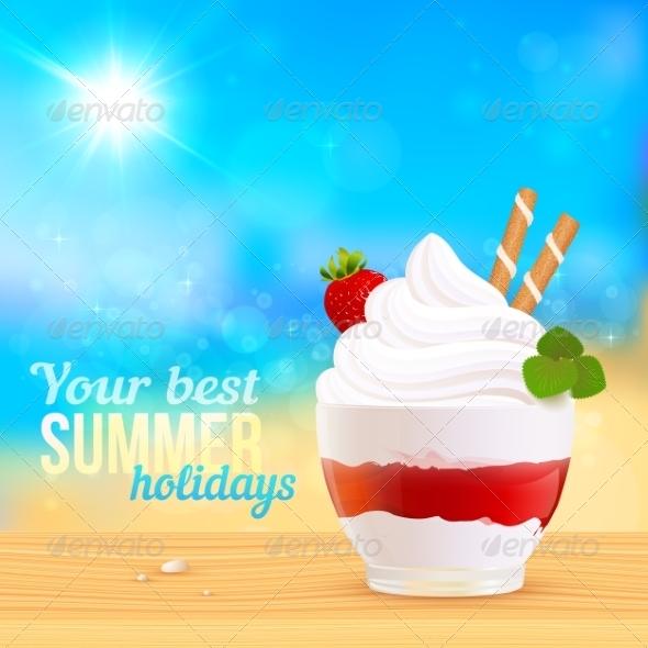 Soft Creamy Ice-Cream Dessert on Sunny Beach - Travel Conceptual