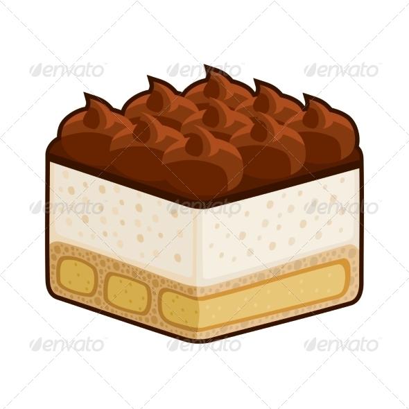Dessert Tiramisu with Amaretto - Food Objects