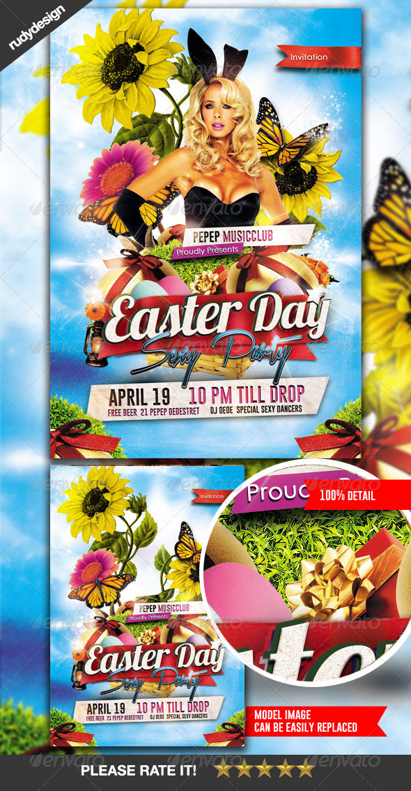 Easter Party Flyer Design - Clubs & Parties Events