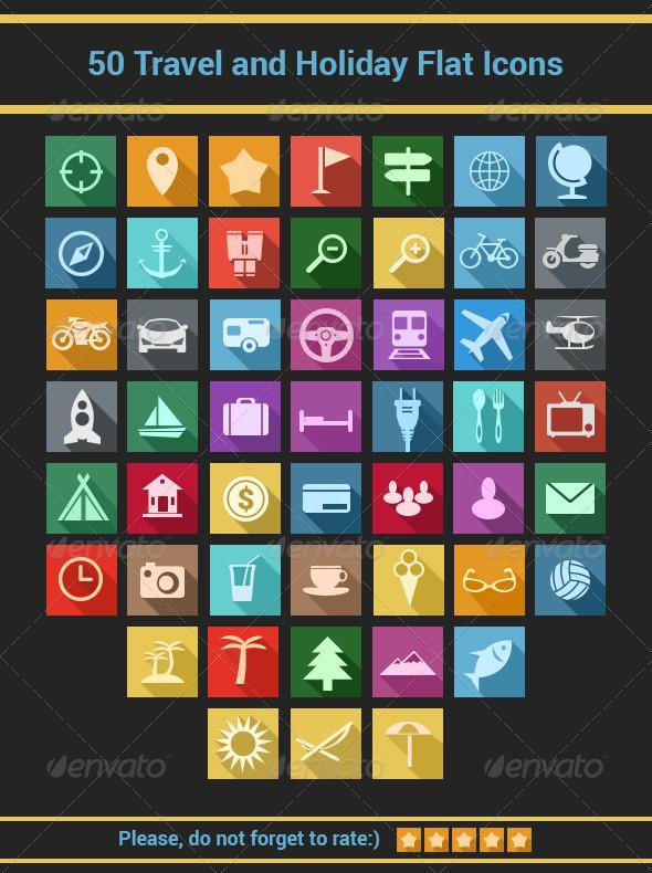 Travel and Holiday Flat Icons Set - Seasonal Icons
