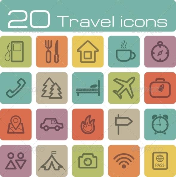 Travel Icons Set - Travel Conceptual