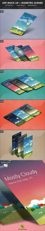 App Mock up - Isometric Scenes - Mobile Displays