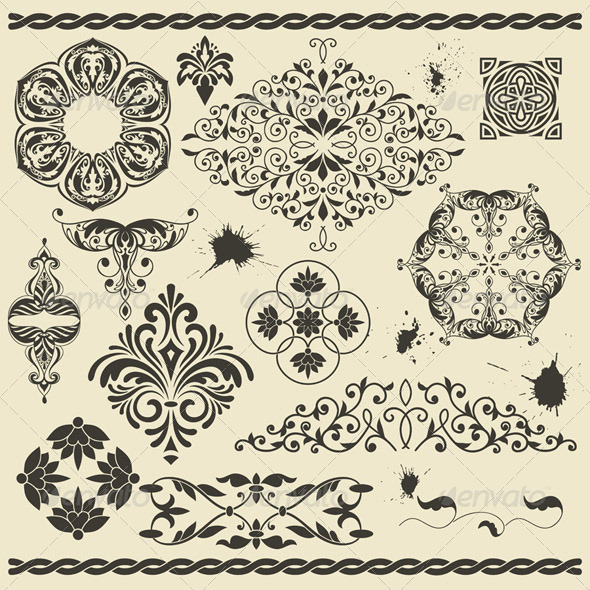 Floral Design Elements and Blots - Decorative Symbols Decorative