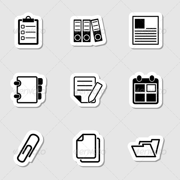 Document Office Icons as Labels - Objects Icons