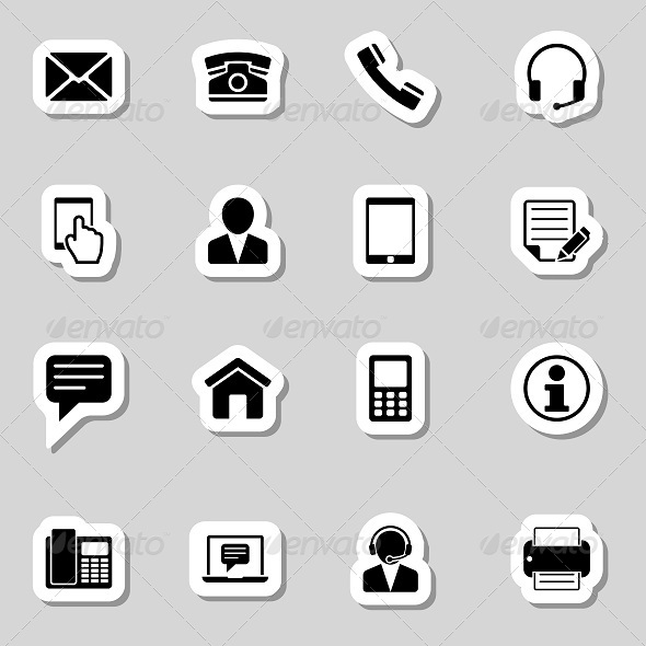 Contact  Icons Set as Labels - Objects Icons