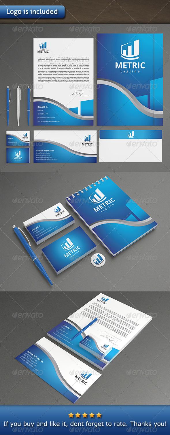 Metrics Logo Identity - Stationery Print Templates