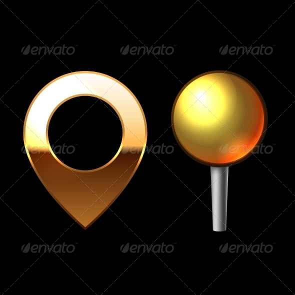 Gold Mapping Pins Set - Web Elements Vectors