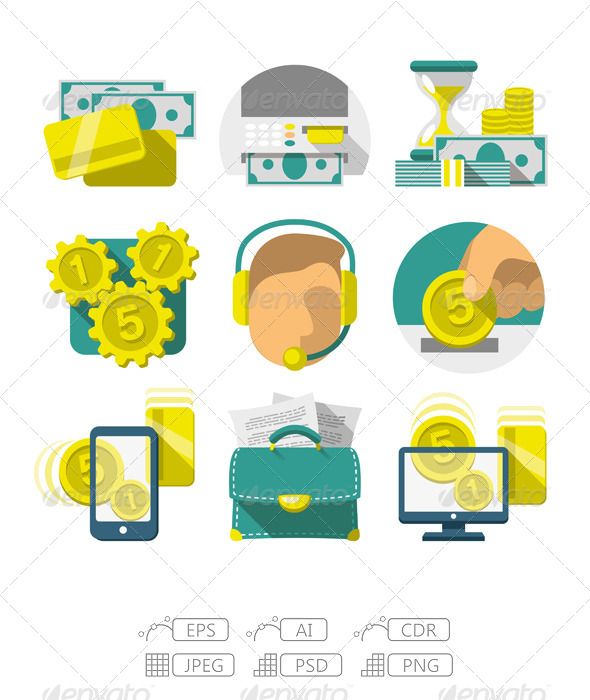 Flat Banking Icons - Commercial / Shopping Conceptual