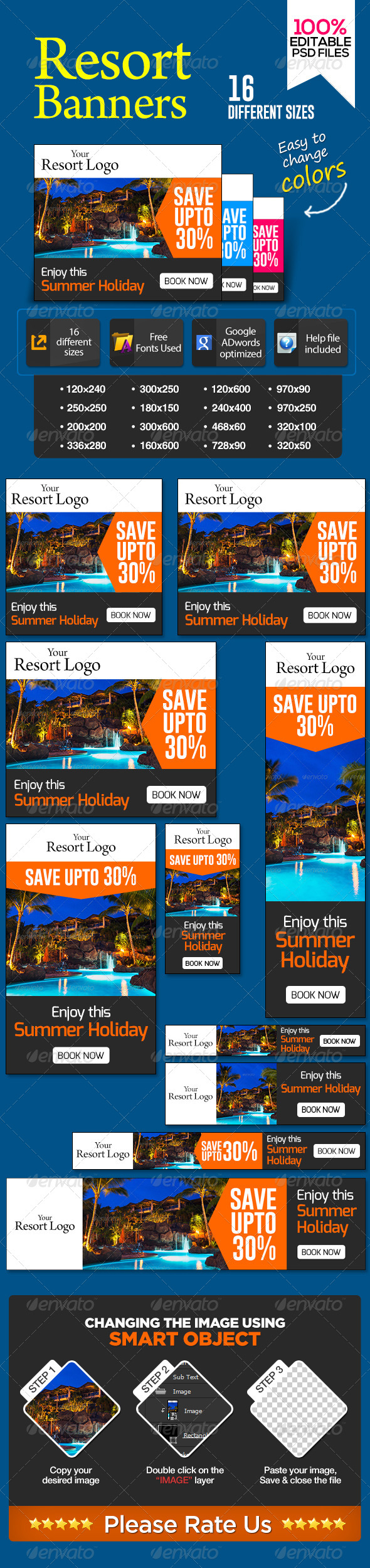 Banners for Vacation Resorts - Banners & Ads Web Elements