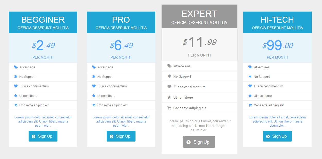 Pure css responsive pricing tables and buttons by for Responsive table css