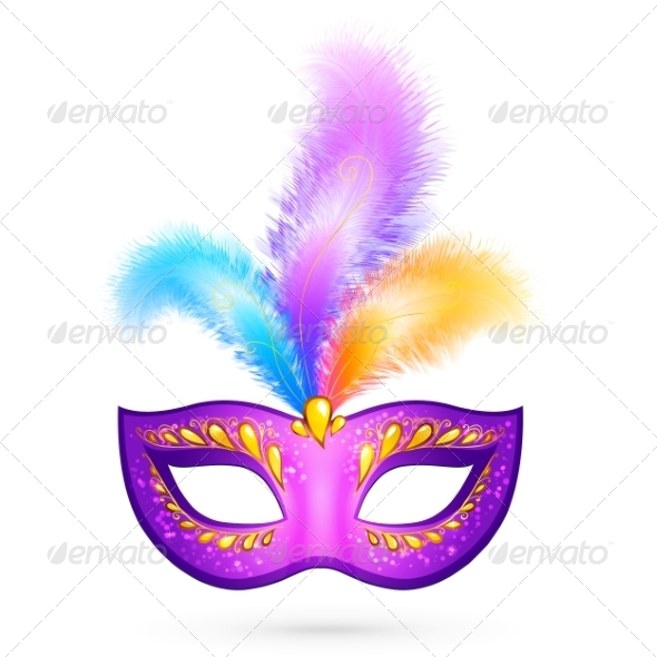 Violet Carnival Mask with Feathers - Miscellaneous Seasons/Holidays