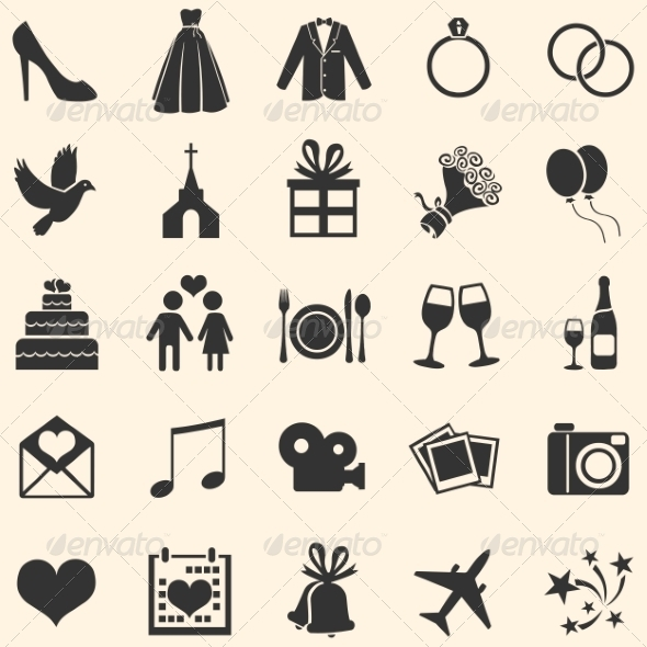 Set of 25 Wedding Icons - Weddings Seasons/Holidays