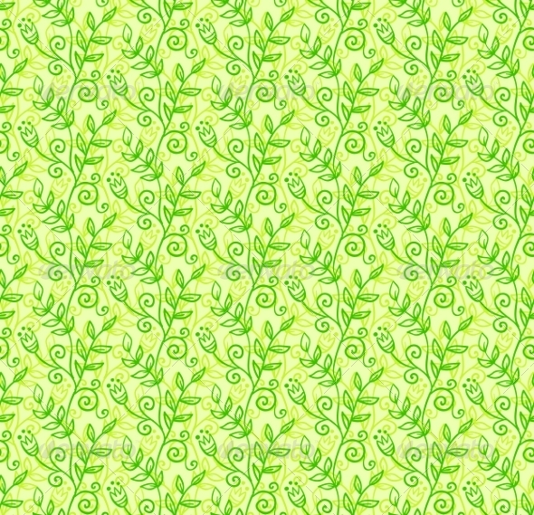 Green Doodle Foliage Seamless Pattern - Flowers & Plants Nature