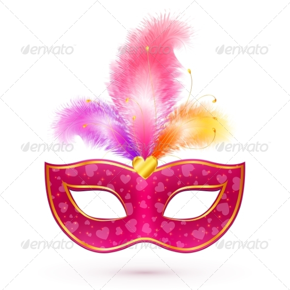 Pink Carnival Mask with Feathers - Valentines Seasons/Holidays