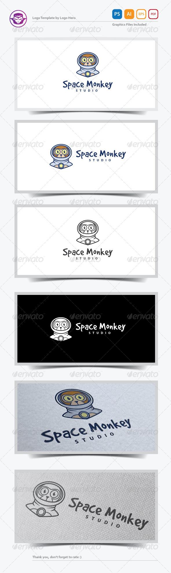 Space Monkey Logo Template - Animals Logo Templates