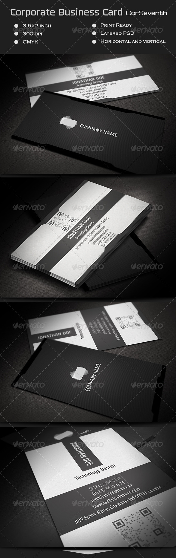 Corporate Business Card CorSeventh - Corporate Business Cards