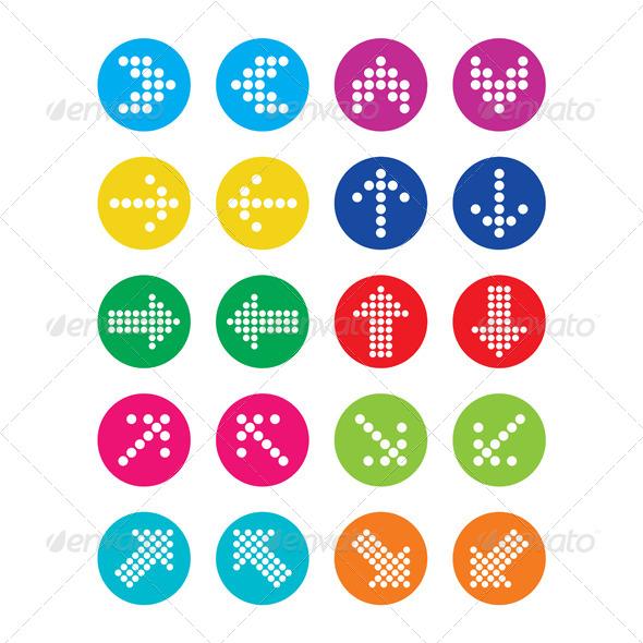 Dotted Colorful Arrows Round Icons Set - Decorative Symbols Decorative