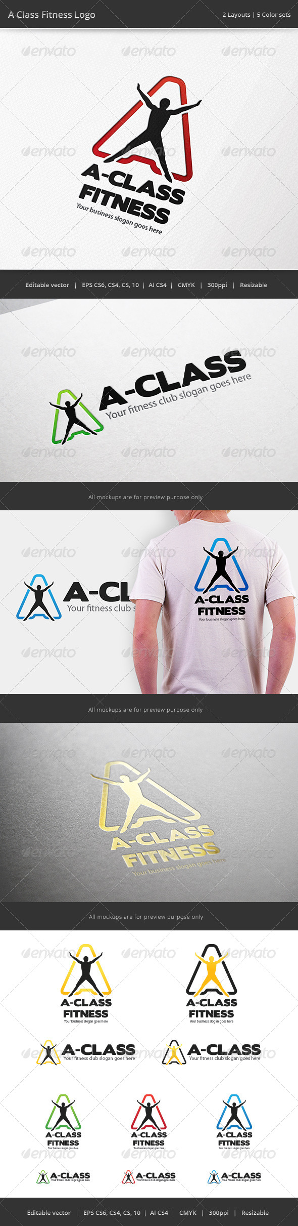 A Class Fitness Letter Logo - Humans Logo Templates