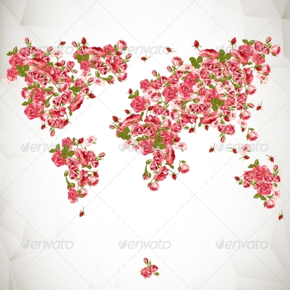 Flower World Map Eco Abstract Background - Patterns Decorative