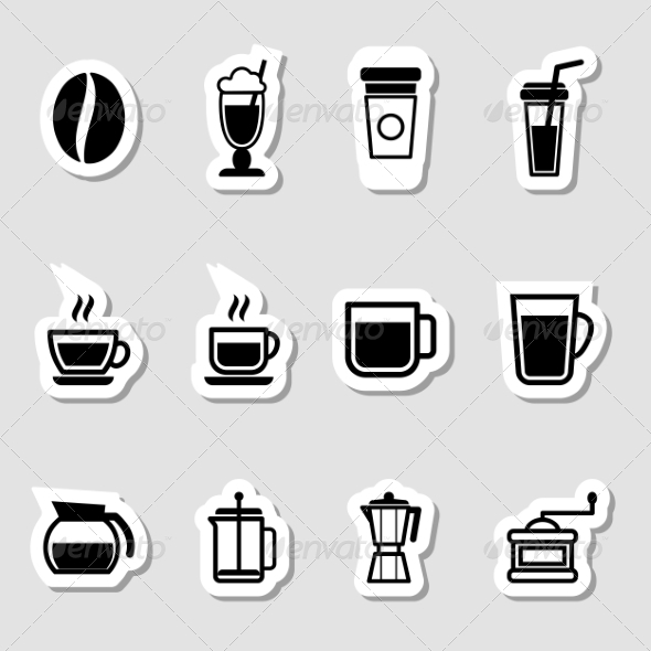 Coffee Drinks Icons as Labels - Food Objects