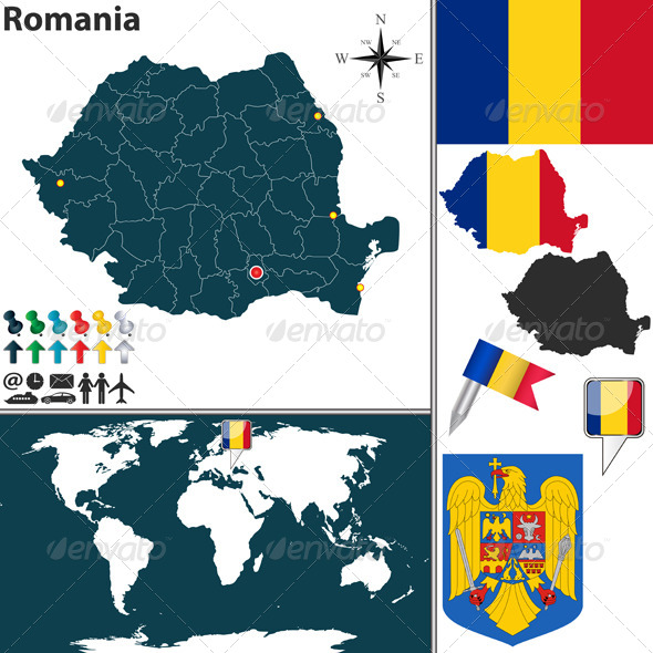 Map of Romania - Travel Conceptual