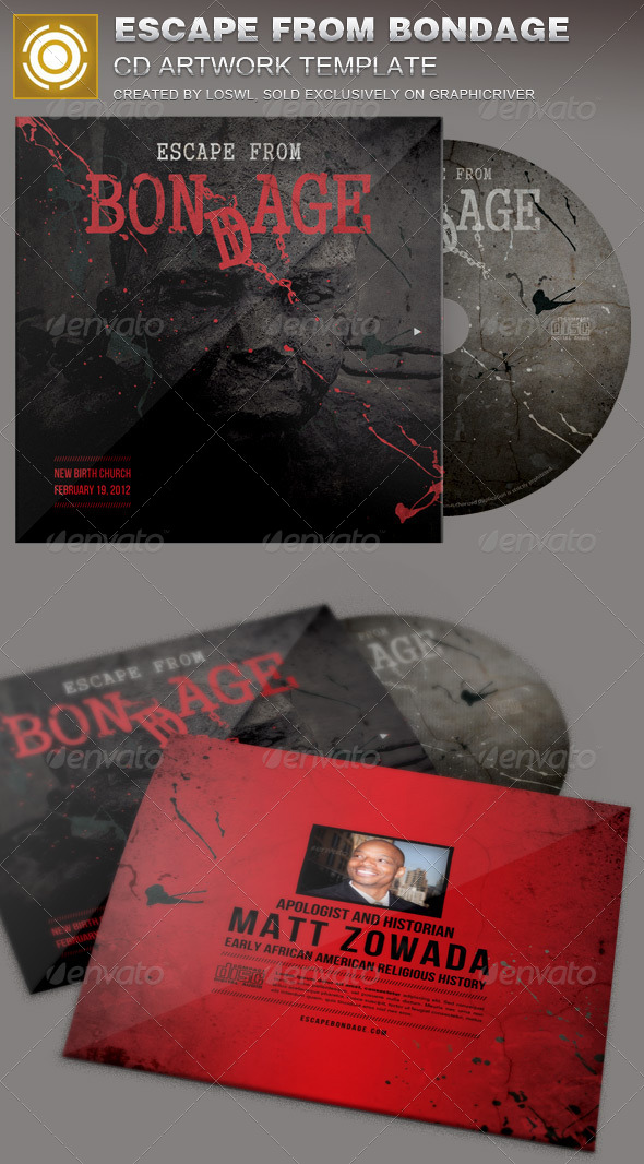 Escape from Bondage CD Artwork Template - CD & DVD Artwork Print Templates