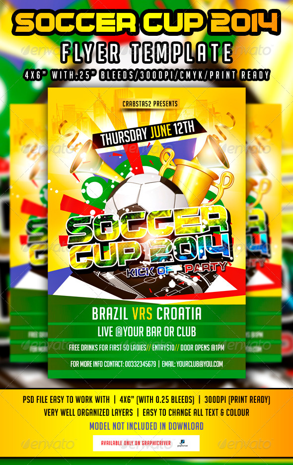 Soccer Cup 2014 Flyer Template - Flyers Print Templates