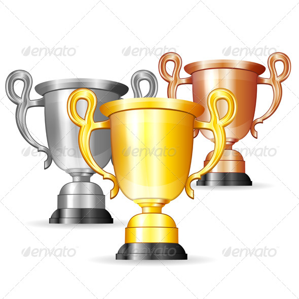 Set of Gold, Silver and Bronze Trophies - Sports/Activity Conceptual