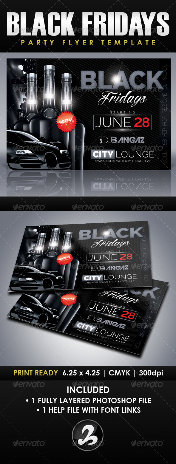 Black Fridays Party Flyer Template - Clubs & Parties Events