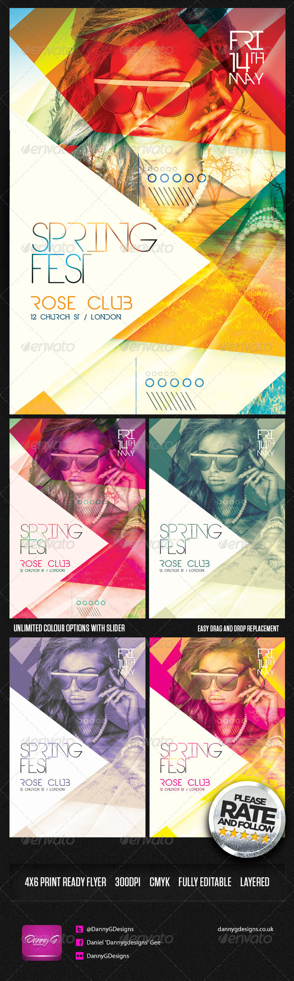 Spring Fest Flyer Template PSD - Clubs & Parties Events