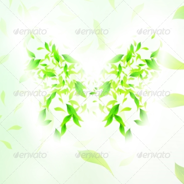 Leaves Form a Butterfly Abstract Shape - Landscapes Nature
