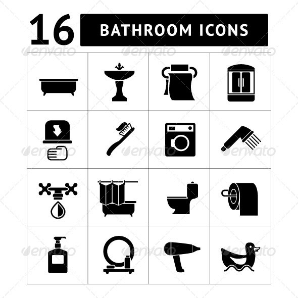 Set Icons of Bathroom and Toilet - Man-made objects Objects