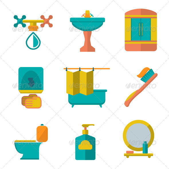 Set Flat Icons of Bathroom and Toilet - Man-made objects Objects