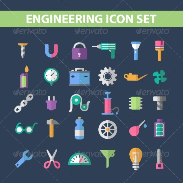 Flat Icons - Buildings Objects