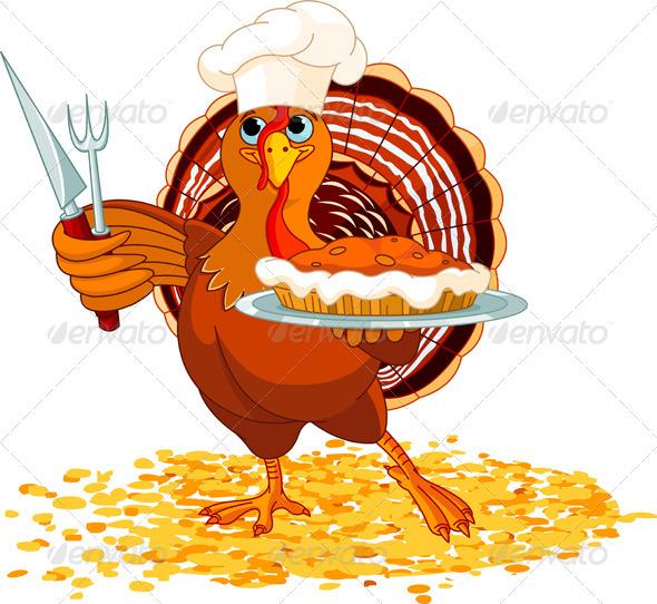 Turkey and Pie - Seasons/Holidays Conceptual