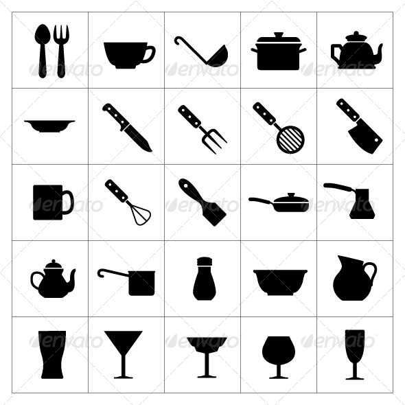 Set Icons of Dishware and Kitchen Accessories - Food Objects