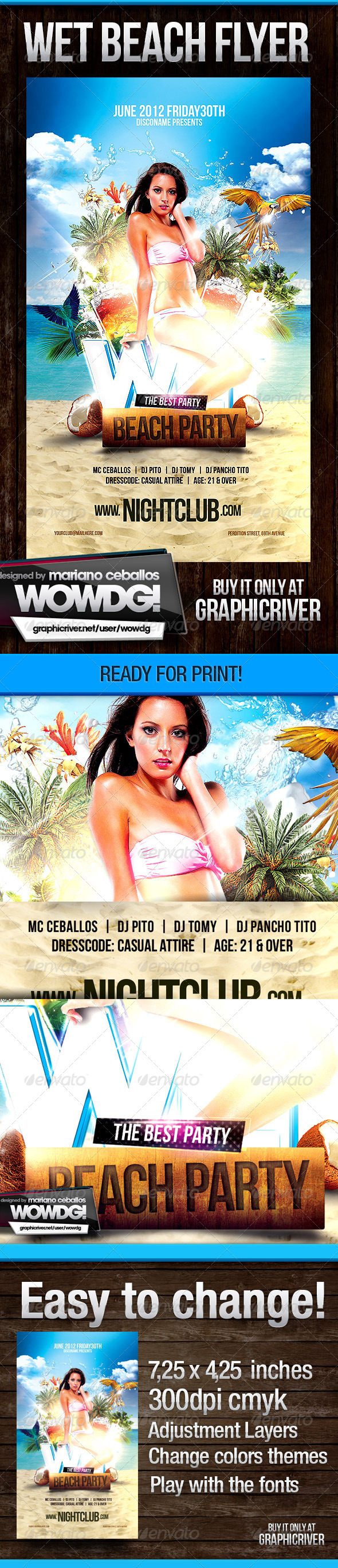 Wet beach Party - Events Flyers