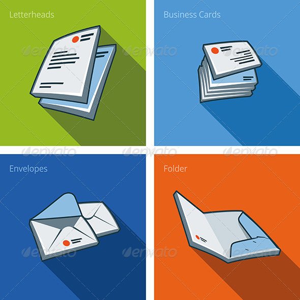 Icon Set of Letterheads and Business Cards - Objects Vectors
