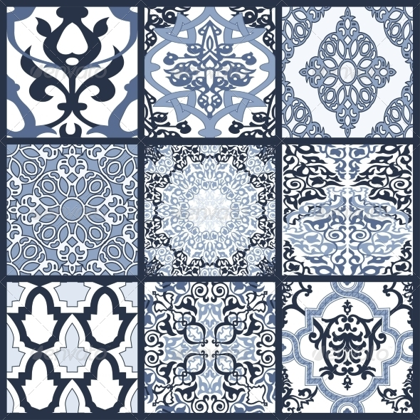 Set of Seamless Patterns in Mosaic Ethnic Style - Patterns Decorative