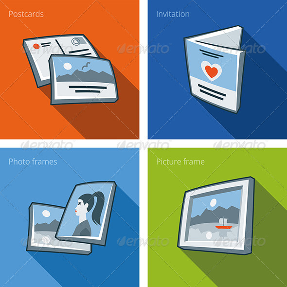 Printouts Icon Set of Postcard, Invitation, and Photo  - Objects Vectors