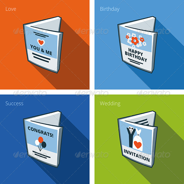 Greeting Card Icons Set in Cartoon Style - Objects Vectors