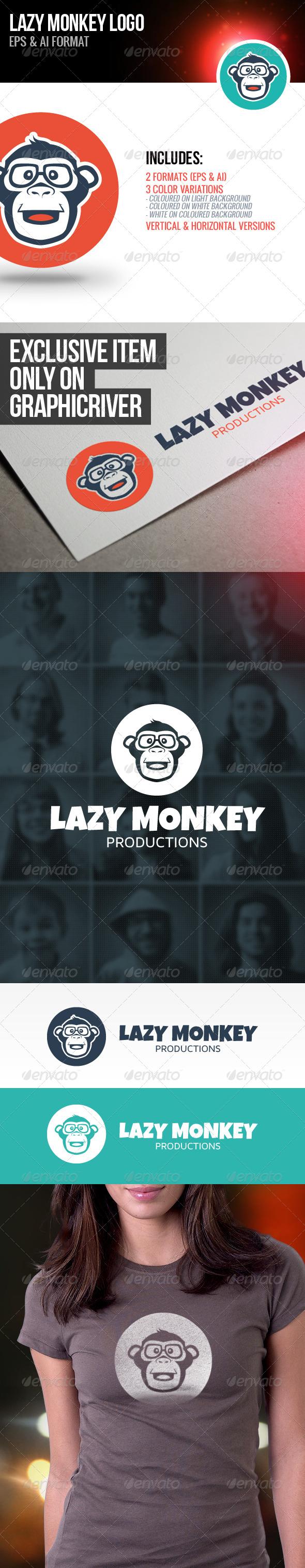 Lazy Monkey Logo - Animals Logo Templates