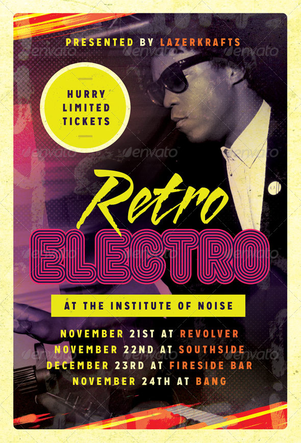 Electro Retro - Electro Flyer Template - Clubs & Parties Events