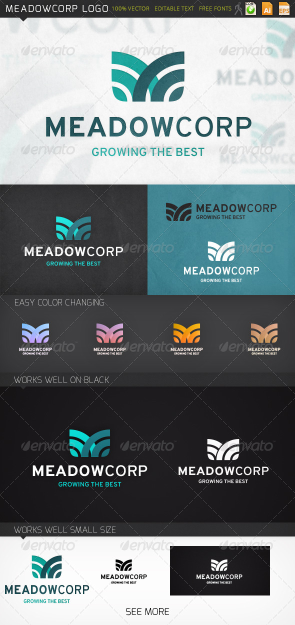 Meadowcorp Letter M Logo Template - Letters Logo Templates