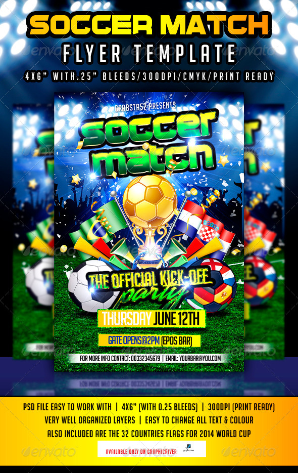 Soccer Match Flyer Template - Sports Events