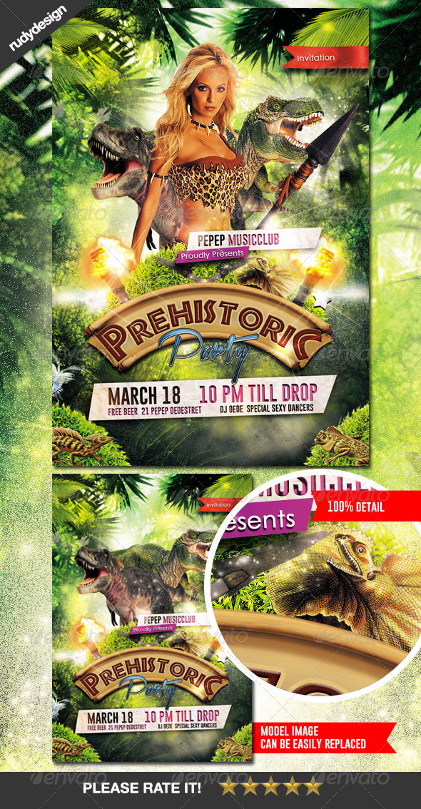 Prehistoric Party Flyer - Clubs & Parties Events