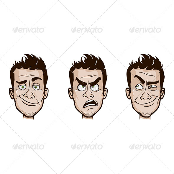 Man Emotions Set - People Characters