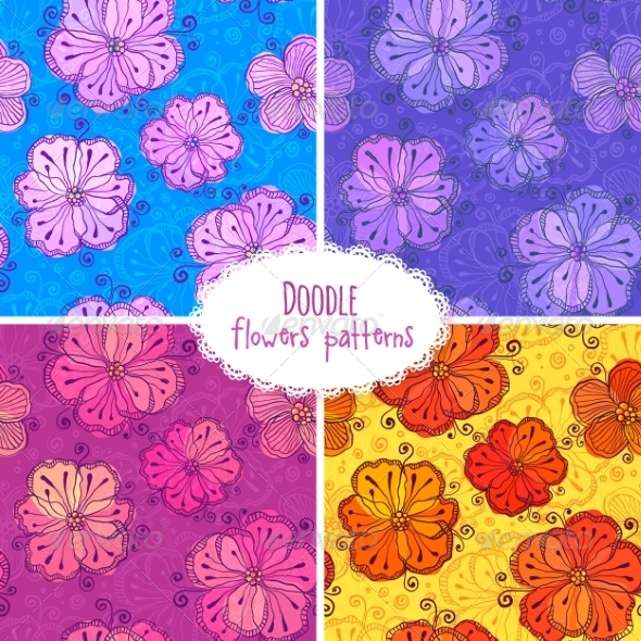 Hand Drawn Flower Seamless Patterns Set - Patterns Decorative