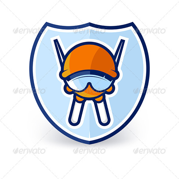 Cartoon Ski Character Label - People Characters
